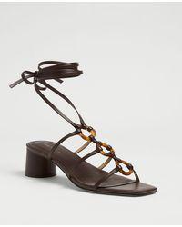 Ann Taylor Ruby Tortoiseshell Print Ring Leather Wrap Block Heel Sandals - Multicolor