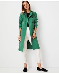 Ann Taylor Back Pleated Trench Coat - Green