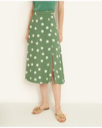Ann Taylor Summer Dot Front Slit Skirt - Green