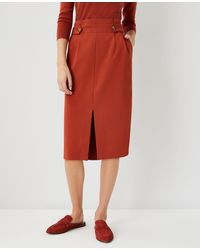 Ann Taylor Button Tab Front Slit Pencil Skirt - Red