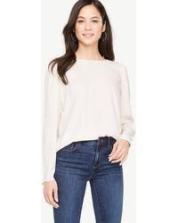 Ann Taylor Petite Ruffle Shoulder Blouse - White