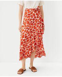 Ann Taylor Tall Giraffe Print Flounce Wrap Maxi Skirt - Red