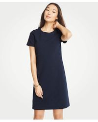 Ann Taylor - Textured Knit Short Sleeve Shift Dress - Lyst