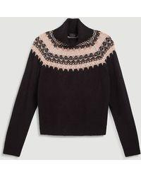 Ann Taylor Fair Isle Turtleneck Sweater - Black