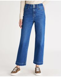 Ann Taylor Petite Sculpting Pocket High Rise Straight Jeans In Bright Authentic Indigo Wash - Blue