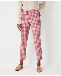 Ann Taylor The Petite Plaid Cotton Crop Pant - Curvy Fit - Red