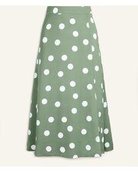 Ann Taylor Summer Dot Front Slit Skirt - Green