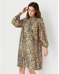 Ann Taylor Leopard Print Smocked Shift Dress - Multicolour