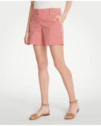 Ann Taylor Gingham Metro Shorts - Red