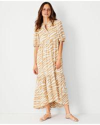 Ann Taylor - Petite Zebra Print Puff Sleeve Midi Dress - Lyst