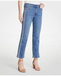 Ann Taylor - Embroidered Side Stripe Straight Crop Jeans - Lyst