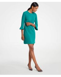 Ann Taylor - Doubleweave Fluted Sleeve Shift Dress - Lyst