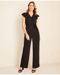 Ann Taylor Cheetah Jacquard Flutter Sleeve Jumpsuit - Black