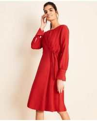 Ann Taylor Keyhole Tie Front Flare Dress - Red
