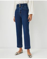 Ann Taylor Quarter Pocket High Rise Corset Easy Straight Jeans In Bright Indigo Wash - Blue