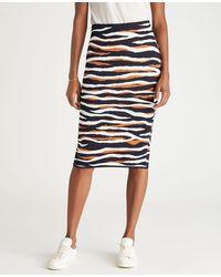 Ann Taylor Petite Tiger Print Jumper Pencil Skirt - Blue