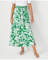 Ann Taylor Floral Tie Waist Maxi Skirt - Green