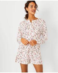 Ann Taylor Floral Henley Pyjama Set - White