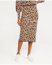Ann Taylor Leopard Jacquard Jumper Pencil Skirt - Multicolour