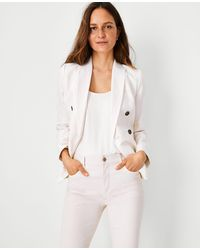 Ann Taylor The Petite Striped Double Breasted Blazer In Linen Cotton - White