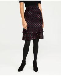 Ann Taylor Petite Polka Dot Pleated Hem Pencil Skirt - Black