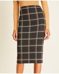 Ann Taylor Plaid Pull On Pencil Skirt - Black
