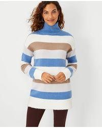 Ann Taylor Striped Turtleneck Tunic Jumper - Blue