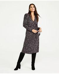 Ann Taylor Petite Giraffe Print Matte Jersey Wrap Dress - Black