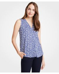Ann Taylor - Petite Floral Pleated V-neck Shell - Lyst