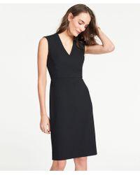 Ann Taylor The Petite V-neck Dress In Bi-stretch - Black