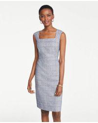 Ann Taylor The Petite Square Neck Dress In Glen Check - Blue