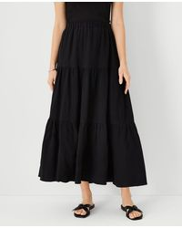 Ann Taylor Petite Gauze Pull On Maxi Skirt - Black
