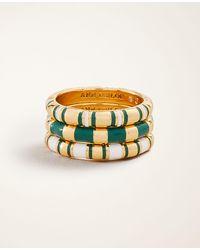 Ann Taylor Striped Enamel Stackable Ring Set - Metallic