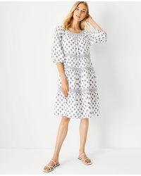 Ann Taylor Petite Floral Shift Dress - White