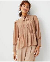 Ann Taylor Pintucked Tie Neck Blouse - Brown