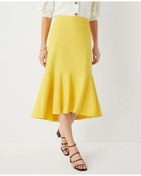 Ann Taylor Petite Flounce Midi Pencil Skirt - Yellow