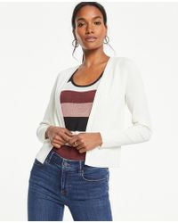 Ann Taylor - Petite Pointelle Cropped Cardigan - Lyst