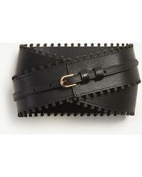 Ann Taylor Laser Cut Leather Belt - Black