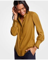 Ann Taylor - Ruffle Neck Button Down Blouse - Lyst
