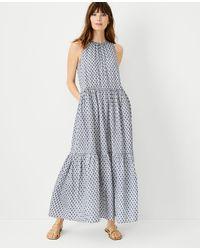 Ann Taylor Paisley Gauze Tiered Pocket Maxi Dress - Multicolour