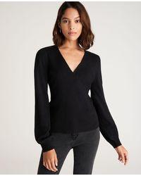 Ann Taylor Petite Balloon Sleeve Wrap Sweater - Black