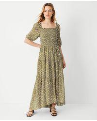 Ann Taylor Floral Smocked Bodice Maxi Dress - Green