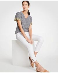 Ann Taylor Petite Modern Ankle Tie Skinny Crop Jeans - White