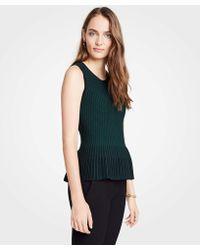 Ann Taylor - Petite Stitched Sleeveless Peplum Sweater - Lyst
