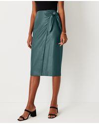 Ann Taylor Petite Faux Leather Wrap Pencil Skirt - Multicolour