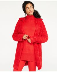 Ann Taylor Boucle Double Breasted Coatigan - Red