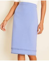 Ann Taylor Petite Scalloped Doubleweave Pencil Skirt - Blue