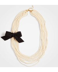Ann Taylor - Pearlized Ribbon Necklace - Lyst