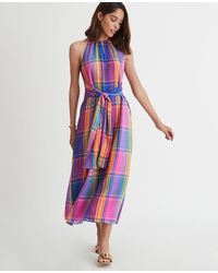 Ann Taylor Tall Madras Plaid Belted Halter Dress - Multicolour