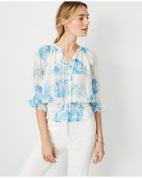 Ann Taylor Petite Floral Toile Tie Neck Smocked Top - Blue